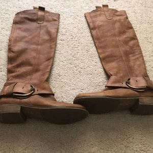 Knee high genuine leather boots